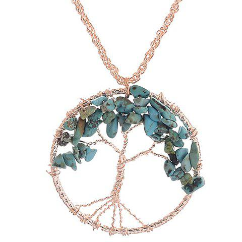 Trendy Faux Turquoise Life Tree Hollow Out Pendant Necklace