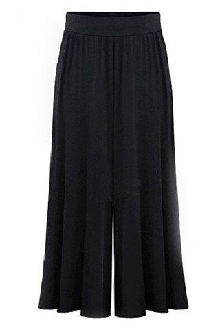 Sale Plus Size Capri Wide Leg Pants - 3XL BLACK Mobile
