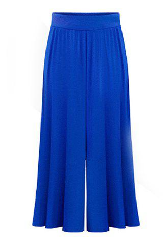 Outfit Plus Size Capri Wide Leg Pants - 4XL BLUE Mobile