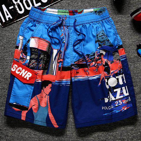 Best Lace-Up Color Block Cartoon Print Straight Leg Pocket Shorts For Men
