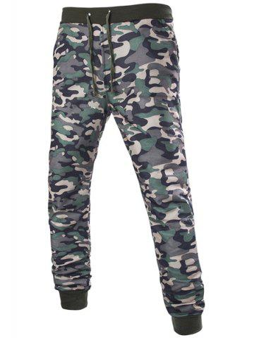 Affordable Beam Feet Camo Print Rib Splicing Drawstring Men's Pants CAMOUFLAGE M