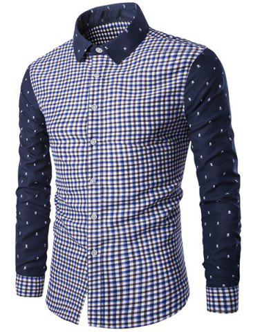 Fancy Modish Turn-Down Collar Plaid Print Tiny Skulls Pattern  Long Sleeve Men's Shirt BLUE 2XL