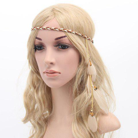 Outfit Chic American Indian Style Feather Pendant Weaving Headband For Women