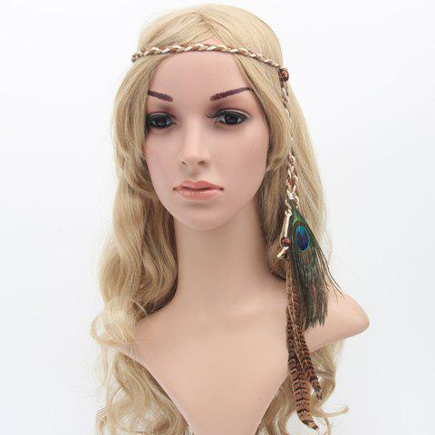 Buy online Bohemian Style Peacock Feather Pendant Bead Lace Up Headband For Women