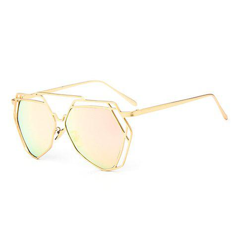 Chic Hollow Metal Golden Polygonal Frame Sunglasses For Women - PINK