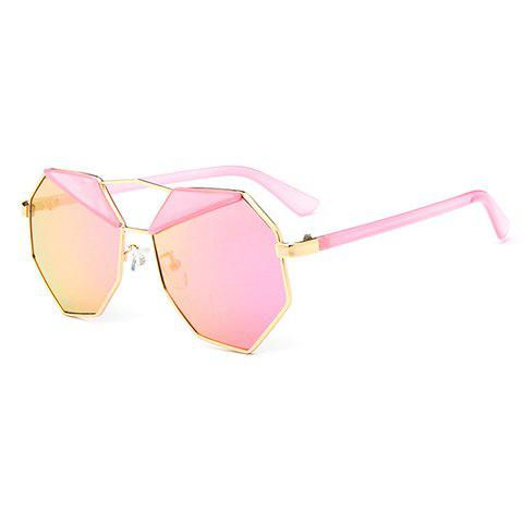 Fancy Chic Metal Polygonal Frame Sunglasses For Women - PINK  Mobile
