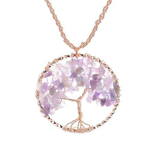 Affordable Natural Stone Life Tree Round Pendant Necklace