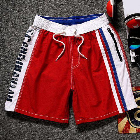 Best Lace-Up Color Block Splicing Letter Print Straight Leg Pocket Shorts For Men
