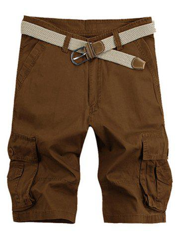 New Solid Color Stereo Patch Pocket Straight Leg Zipper Fly Cargo Shorts For Men COFFEE 33