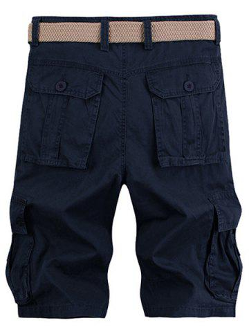 Latest Solid Color Stereo Patch Pocket Straight Leg Zipper Fly Cargo Shorts For Men - 38 PURPLISH BLUE Mobile