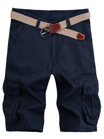 Chic Solid Color Stereo Patch Pocket Straight Leg Zipper Fly Cargo Shorts For Men - 38 PURPLISH BLUE Mobile