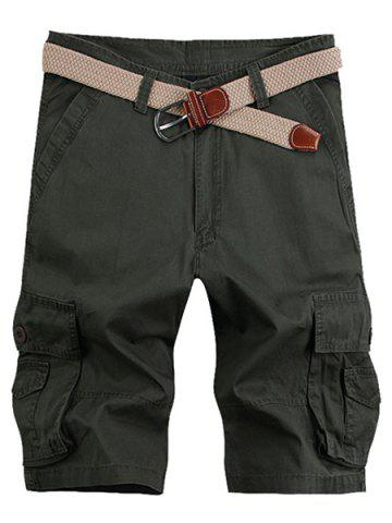 Sale Solid Color Stereo Patch Pocket Straight Leg Zipper Fly Cargo Shorts For Men - 34 ARMY GREEN Mobile