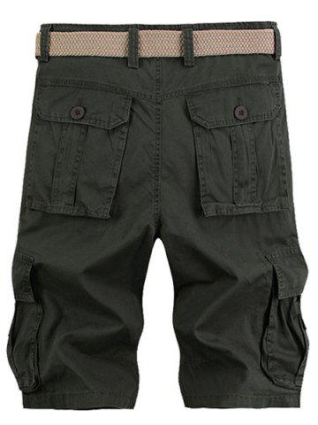 Latest Solid Color Stereo Patch Pocket Straight Leg Zipper Fly Cargo Shorts For Men - 33 ARMY GREEN Mobile