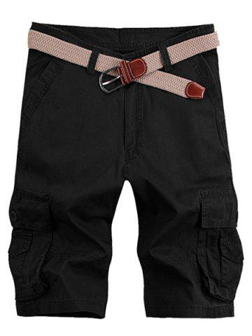 Buy Solid Color Stereo Patch Pocket Straight Leg Zipper Fly Cargo Shorts For Men - 33 BLACK Mobile
