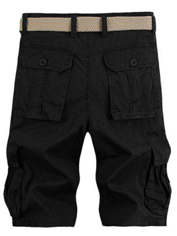 Hot Solid Color Stereo Patch Pocket Straight Leg Zipper Fly Cargo Shorts For Men - 33 BLACK Mobile