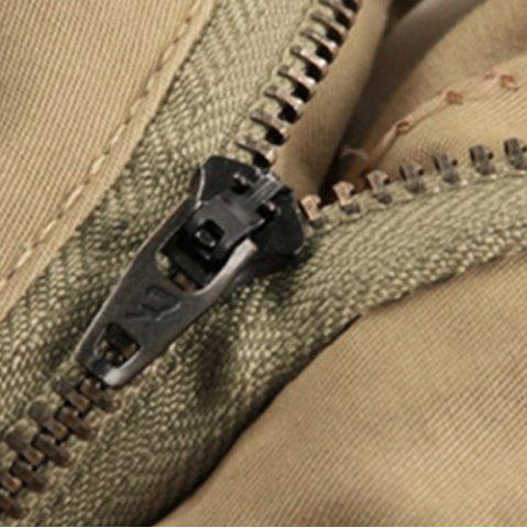 Fashion Solid Color Stereo Patch Pocket Straight Leg Zipper Fly Cargo Shorts For Men - 31 KHAKI Mobile