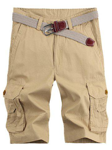 Unique Solid Color Stereo Patch Pocket Straight Leg Zipper Fly Cargo Shorts For Men - 34 KHAKI Mobile