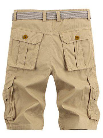 New Solid Color Stereo Patch Pocket Straight Leg Zipper Fly Cargo Shorts For Men - 38 KHAKI Mobile