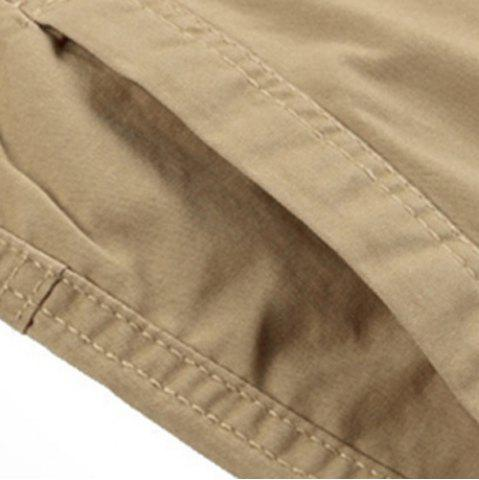 Buy Solid Color Stereo Patch Pocket Straight Leg Zipper Fly Cargo Shorts For Men - 38 KHAKI Mobile