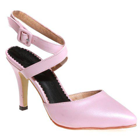 Store Elegant PU Leather and Cross Straps Design Sandals For Women