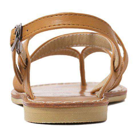 Latest Casual Cross-Strap and Flat Heel Design Sandals For Women - 39 BROWN Mobile