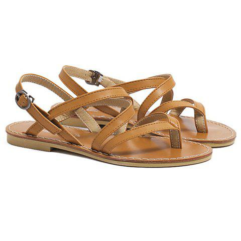 Sale Casual Cross-Strap and Flat Heel Design Sandals For Women - 39 BROWN Mobile