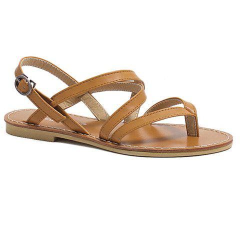 Best Casual Cross-Strap and Flat Heel Design Sandals For Women - 39 BROWN Mobile