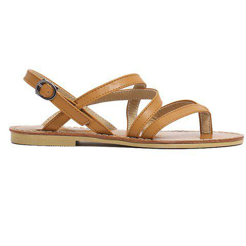 Chic Casual Cross-Strap and Flat Heel Design Sandals For Women - 39 BROWN Mobile