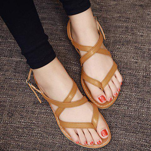 Cheap Casual Cross-Strap and Flat Heel Design Sandals For Women - 39 BROWN Mobile