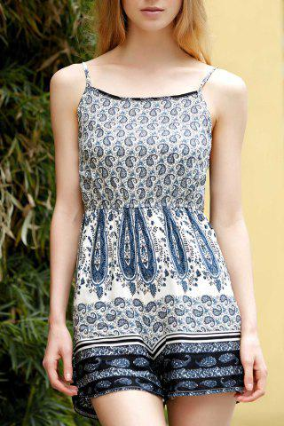 Chic Stylish Spaghetti Straps Printed Backless Romper For Women