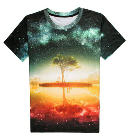 Shop Round Neck 3D Starry Sky Pattern Short Sleeve Men's T-Shirt - S COLORMIX Mobile