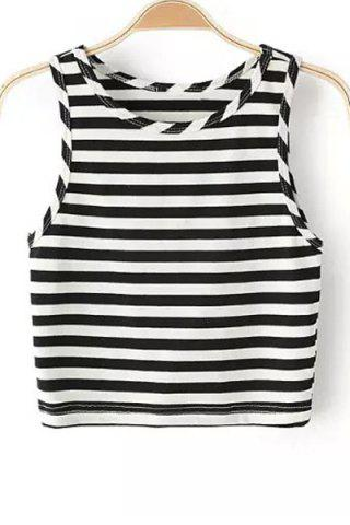 Online Trendy Round Collar Striped Cropped Tank Top For Women