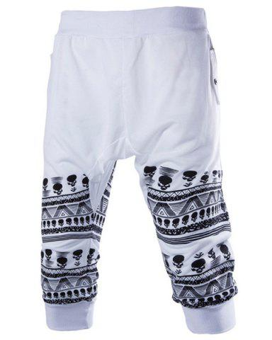 Outfit Beam Feet Skulls Pattern Rib Splicing Elastic Waist Capri Pants