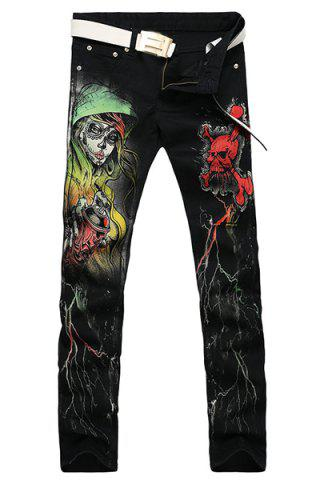 Fashion Casual Zip Fly Skull Printing Straight Legs Denim Pants For Men