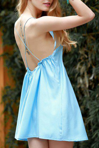 Stylish Spaghetti Straps Backless Solid Color Dress For Women - Blue - M