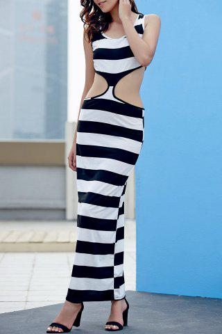 Maxi Striped Cut Out Sleeveless Bodycon Dress - White And Black - L