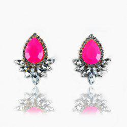 Faux Gemstone Crystal Flower Shape Earrings - ROSE