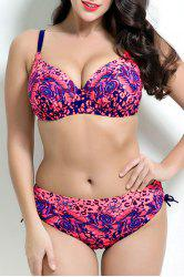 Stylish Spaghetti Strap Plus Size Floral Print Push Up Underwire Bikini Set For Women