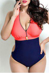 Stylish Halter Neck Plus Size Color Block Push Up Swimwear For Women - RED
