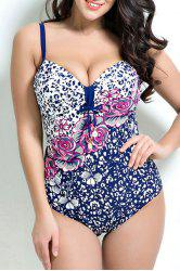 Stylish Spaghetti Strap Plus Size Floral Print Underwire Swimwear For Women
