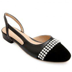 Sweet Black Color and Square Toe Design Flat Shoes For Women -