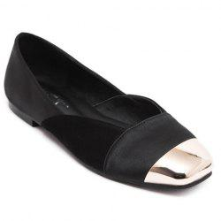 Simple Splicing and Metal Toe Design Flat Shoes For Women -