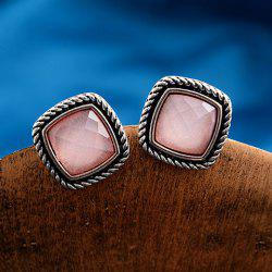 Pair of Square Faux Gemstone Ear Cuffs