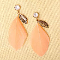 Pair of Feather Leaf Faux Opal Earrings -