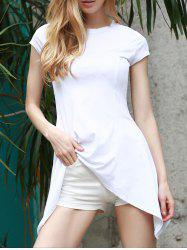 Trendy White Short Sleeve Swallowtail Pullover T-Shirt For Women