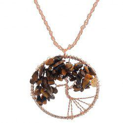 Woven Round Life Tree Pendant Necklace -