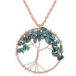 Faux Turquoise Life Tree Hollow Out Pendant Necklace -