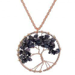 Hollow Out Round Life Tree Pendant Necklace -