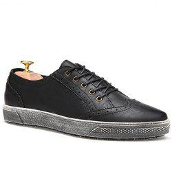 Stylish Engraving and Lace-Up Design Casual Shoes For Men - BLACK