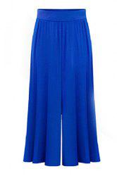 Plus Size Capri Wide Leg Pants - BLUE